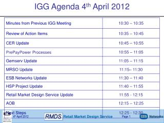 IGG Agenda 4 th  April 2012