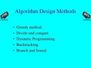 Algorithm Design Methods