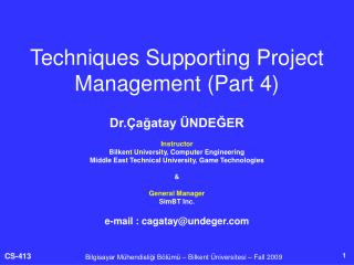 Techniques Supporting Project Management (Part 4)