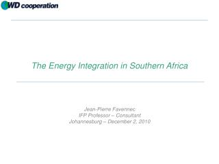 The Energy Integration in Southern Africa