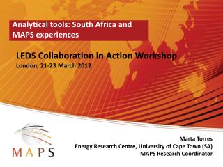 Analytical tools: South  Africa  and MAPS experiences