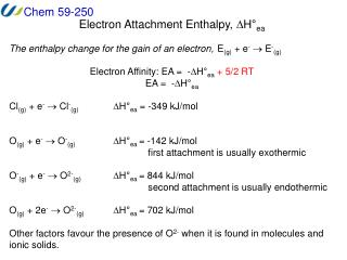Electron Attachment Enthalpy,  D H ° ea