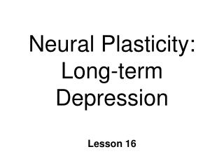 Neural Plasticity: Long-term Depression