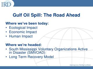 Gulf Oil Spill: The Road Ahead