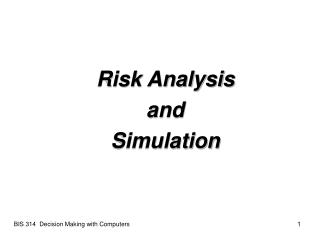 Risk Analysis  and  Simulation