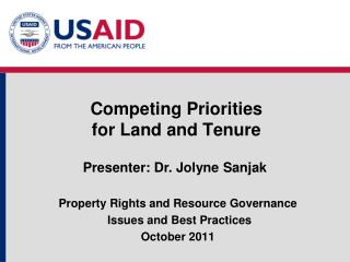 Competing Priorities  for Land and Tenure