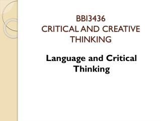 BBI3436 CRITICAL AND CREATIVE THINKING