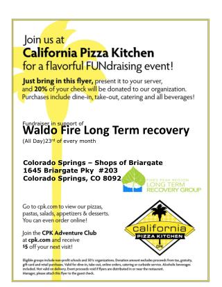 Fundraiser in support of Waldo Fire Long Term recovery  (All Day)23 rd  of every month