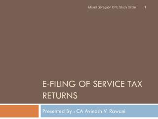 E-Filing of Service Tax Returns