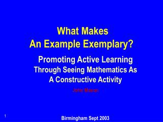 What Makes  An Example Exemplary?