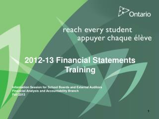2012-13 Financial Statements Training