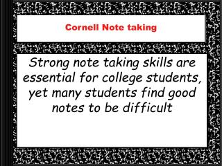 Cornell Note taking