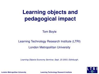 Learning objects and pedagogical impact