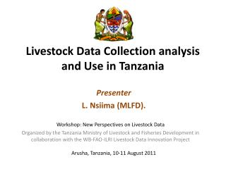 Livestock Data Collection analysis and Use in Tanzania