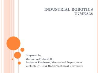INDUSTRIAL ROBOTICS U7MEA38