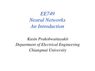 Kasin Prakobwaitayakit Department of Electrical Engineering Chiangmai University