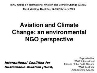 Aviation and Climate Change: an environmental NGO perspective
