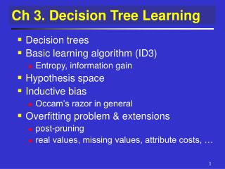 PPT - Ch 3  Decision Tree Learning PowerPoint Presentation