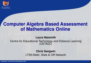 Computer Algebra Based Assessment of Mathematics Online
