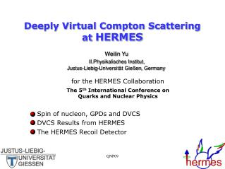 Deeply Virtual Compton Scattering at  HERMES