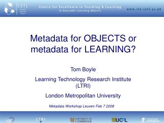 Metadata for OBJECTS or metadata for LEARNING?