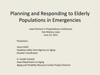 Planning and Responding to Elderly Populations in Emergencies