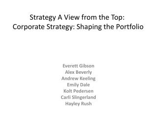 Strategy A View from the Top:  Corporate Strategy: Shaping the Portfolio