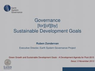 Green Growth and Sustainable Development Goals - A Development Agenda for Post-2015