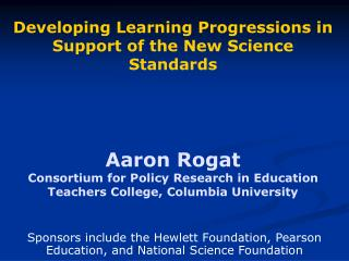 Sponsors include the Hewlett Foundation, Pearson Education, and National Science Foundation