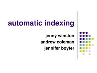automatic indexing