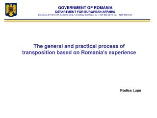 GOVERNMENT OF ROMANIA DEPARTMENT FOR EUROPEAN AFFAIRS