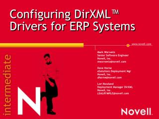 Configuring DirXML™ Drivers for ERP Systems