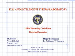 December 2nd, 2003 Department of Electrical and Computer Engineering