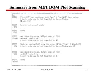 Summary from MET DQM Plot Scanning