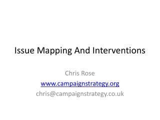 Issue Mapping And Interventions