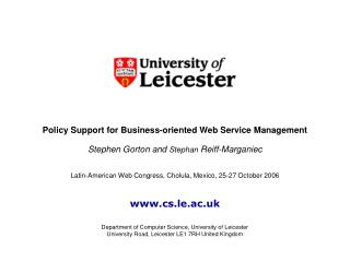 Policy Support for Business-oriented Web Service Management