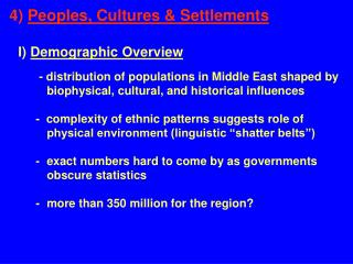 4)  Peoples, Cultures & Settlements