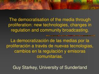 Guy Starkey, University of Sunderland
