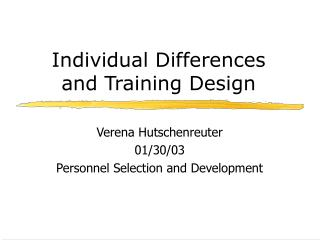 Individual Differences and Training Design