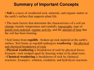Summary of Important Concepts
