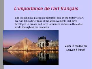 L'importance de l'art français