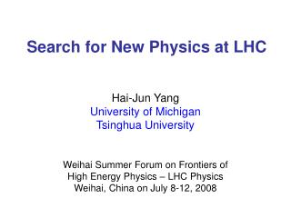 Search for New Physics at LHC