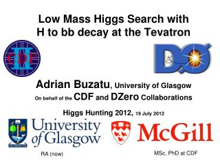 Low Mass Higgs Search with  H to bb decay at the Tevatron