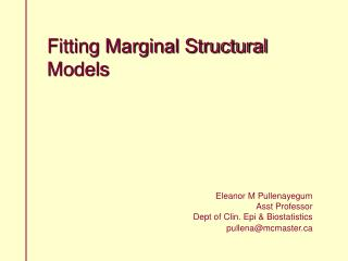 Fitting Marginal Structural Models