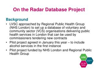 On the Radar Database Project