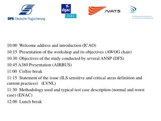 10:00  Welcome address and introduction (ICAO)