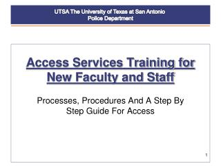 Access Services Training for New Faculty and Staff