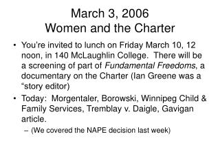 March 3, 2006 Women and the Charter