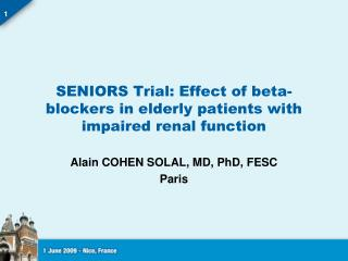 SENIORS Trial: Effect of beta-blockers in elderly patients with impaired renal function