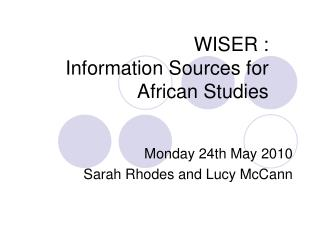 WISER :  Information Sources for African Studies